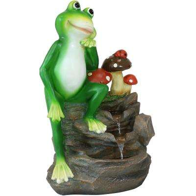 23 in. Sunnydaze Mindful Frog Outdoor Water Fountain