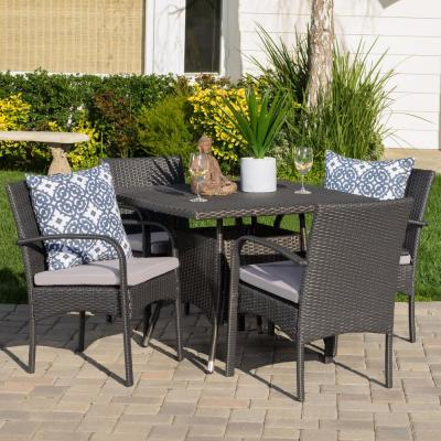 Lea Grey 5-Piece Wicker Outdoor Dining Set with Grey Cushions