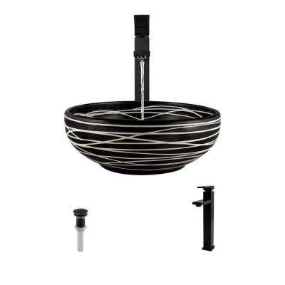 Ceramic Vessel Sink in Black and Cream with 721 Faucet and Pop-Up Drain in Antique Bronze