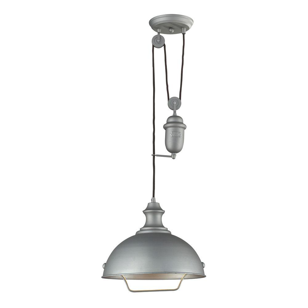 Titan Lighting Farmhouse 1-Light Aged Pewter Ceiling Mount
