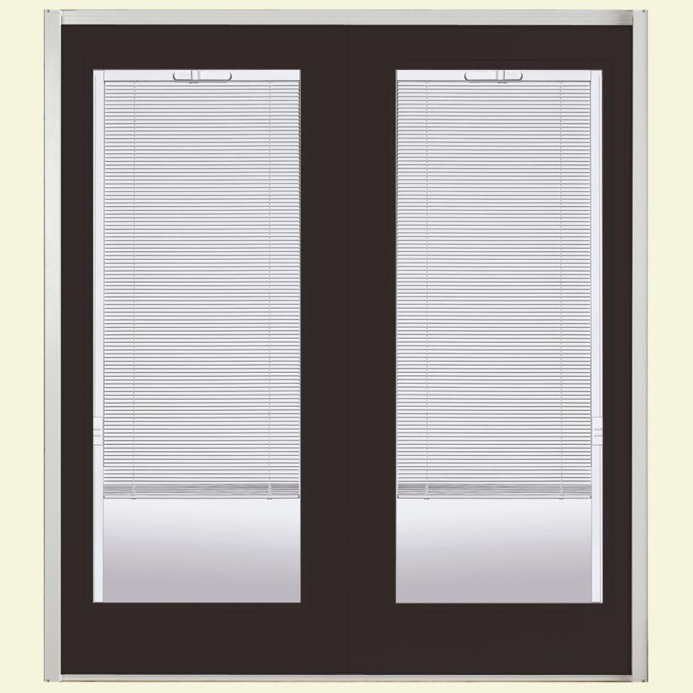 Masonite 60 in. x 80 in. Willow Wood Steel Prehung Left-Hand Inswing Mini Blind Patio Door with Brickmold