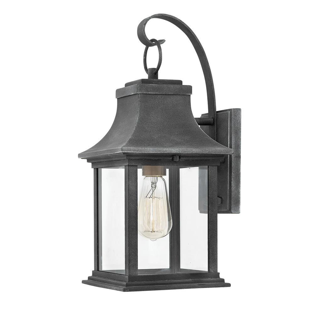Hinkley Lighting Adair Small 1 Light Aged Zinc Outdoor Wall Lantern Sconce 2930dz The Home Depot