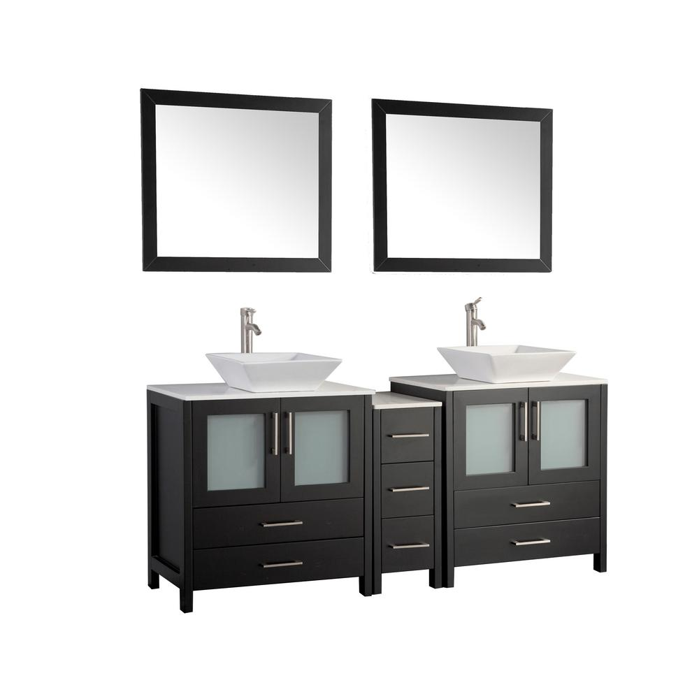 Vanity Art Ravenna 72 in. W x 18.5 in. D x 36 in. H Bathroom Vanity in Espresso with Double Basin Top in White Ceramic and Mirrors