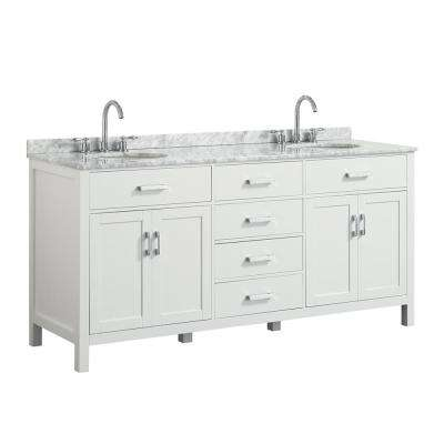 Hampton 73 in. W x 22 in. D Bath Vanity in White with Marble Vanity Top in White with White Basin