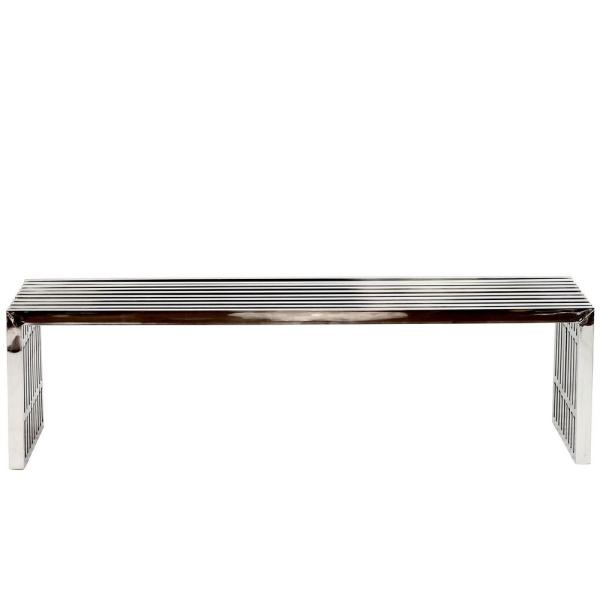 MODWAY Gridiron Large Stainless Steel Bench in Silver