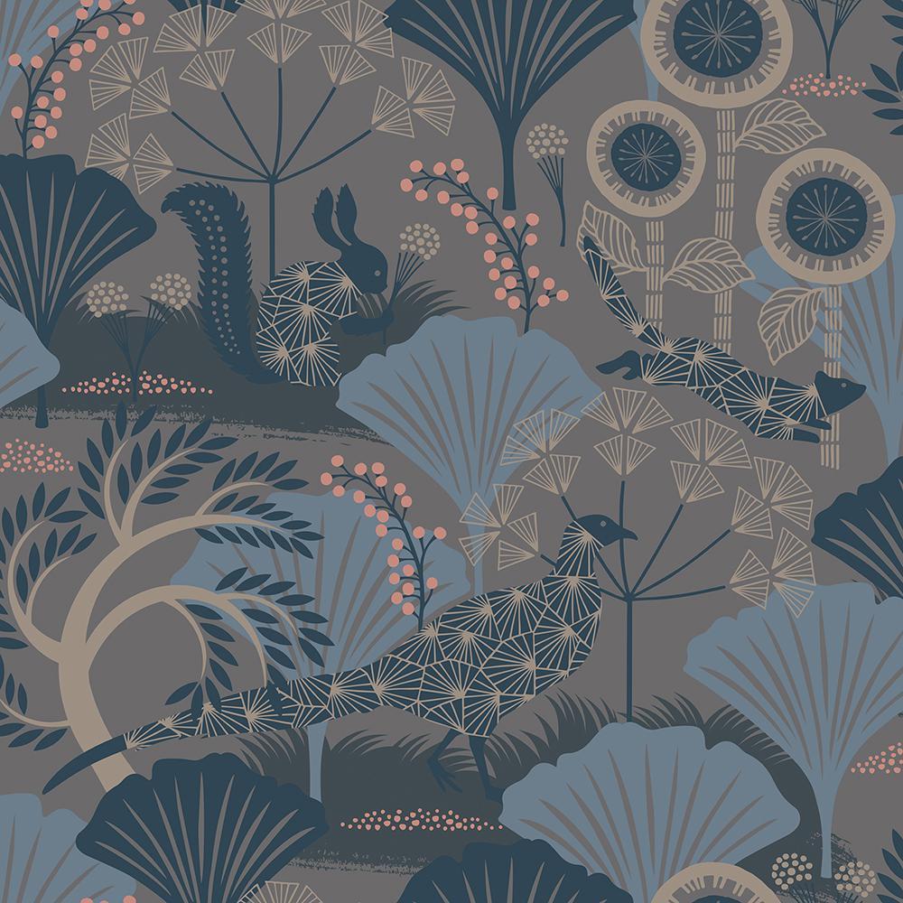 8 in. x 10 in. Skog Grey Forest Wallpaper Sample
