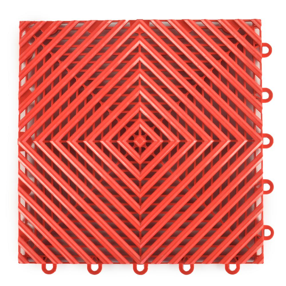 Greatmats Perforated Click 12-1/8 in. x 12-1/8 in. Red Plastic Garage Floor Tile (25-Pack)
