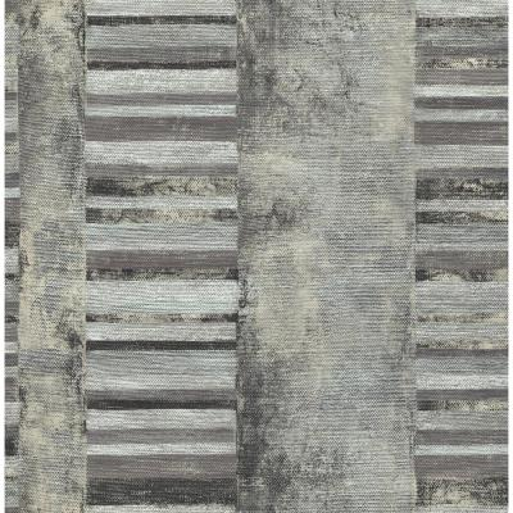 Judson Metallic Silver and Ebony Striped Wallpaper