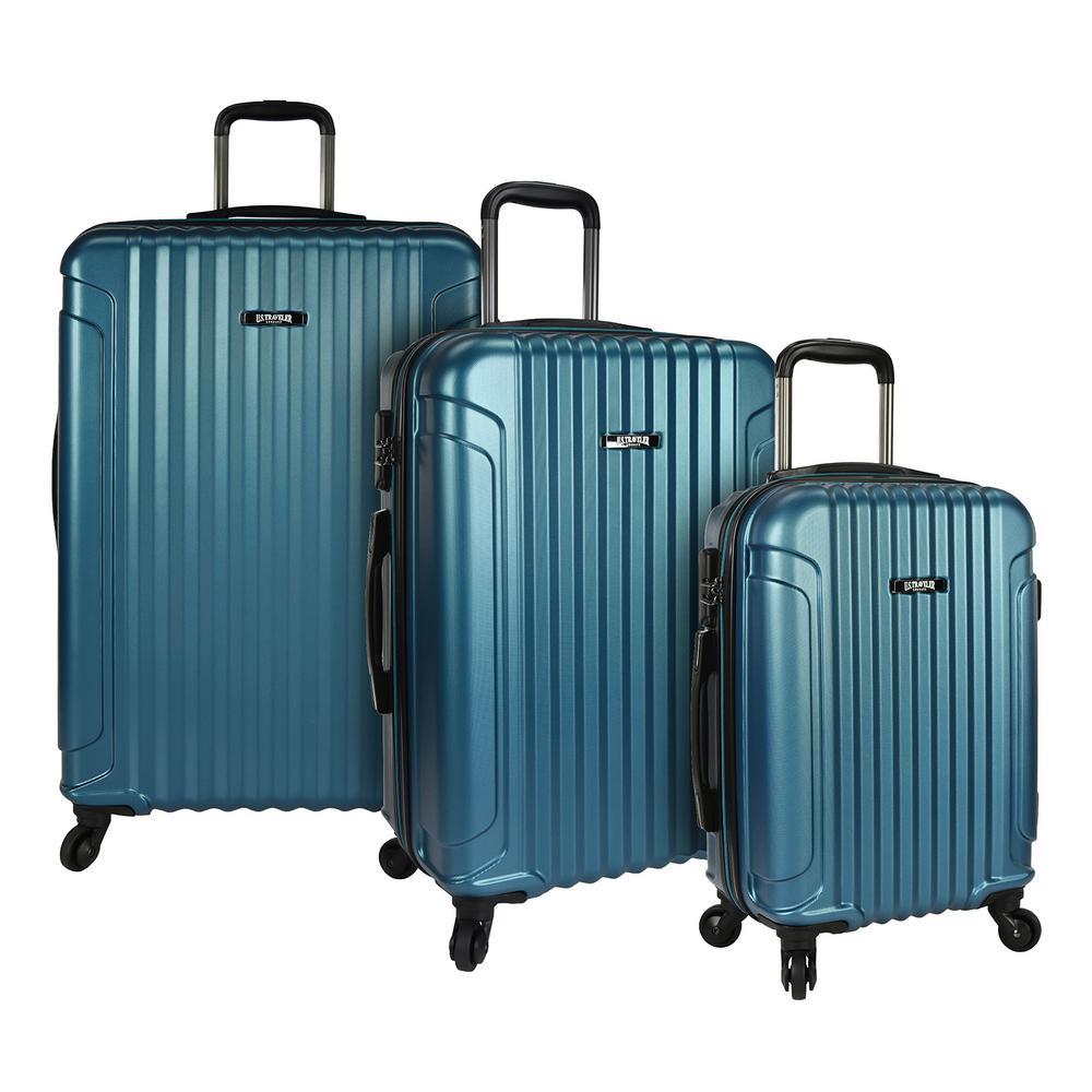 Akron 3-Piece Hardside Spinner Luggage Set, Teal