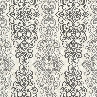 Mexuar Black Filigree Stripe Wallpaper Sample