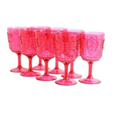 Elmira 16 oz. Red Acrylic Goblets (8-Pack)