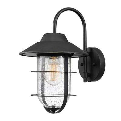 Matthews Matte Black Outdoor Indoor Wall Mount Sconce with Seeded Glass Shade