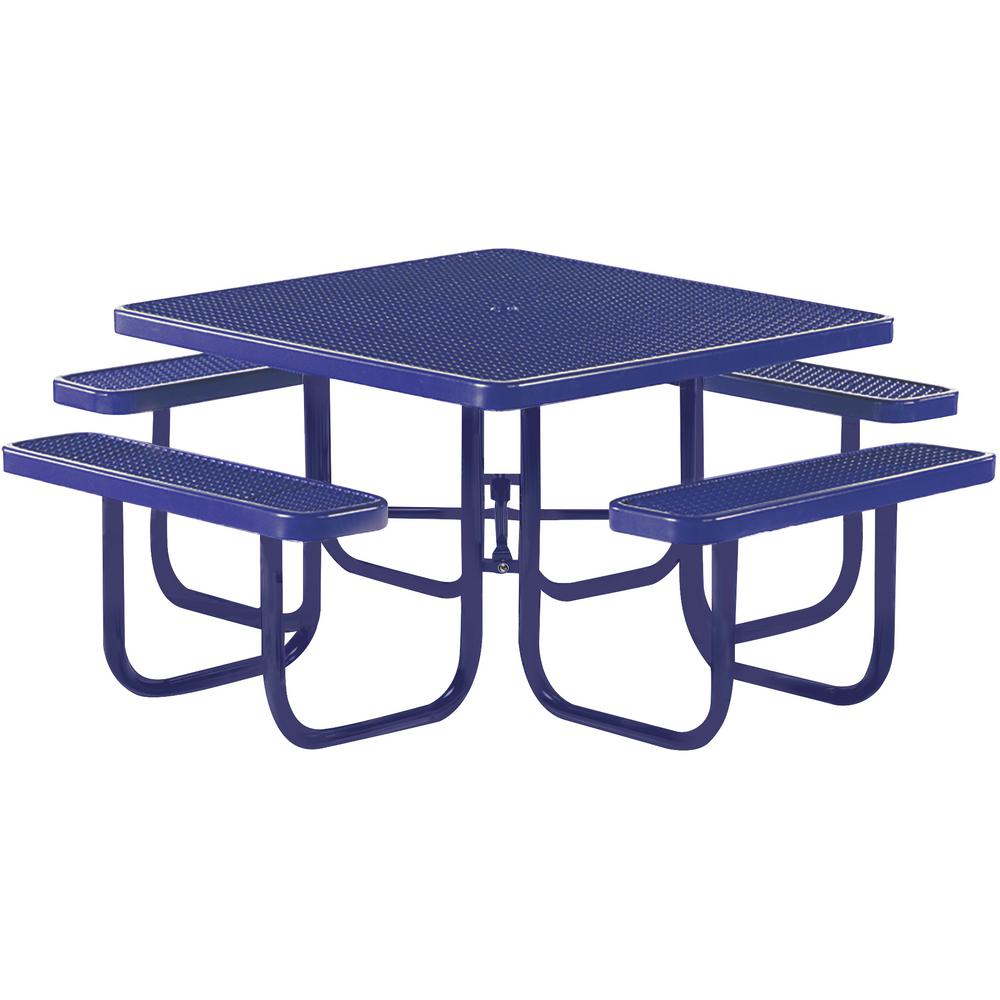 Tradewinds Park 46 in. Blue Commercial Square Picnic Table