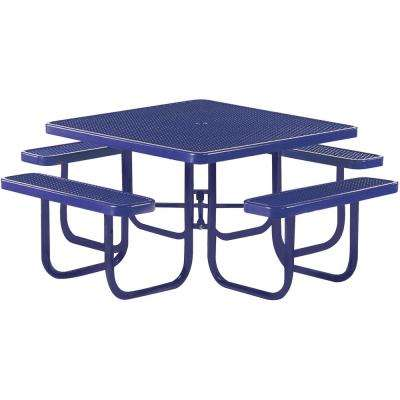 Park 46 in. Blue Commercial Square Picnic Table