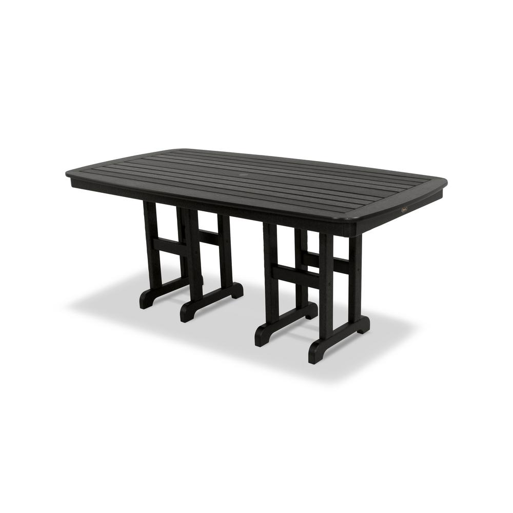 Yacht Club 37 in. x 72 in. Charcoal Black Patio Dining
