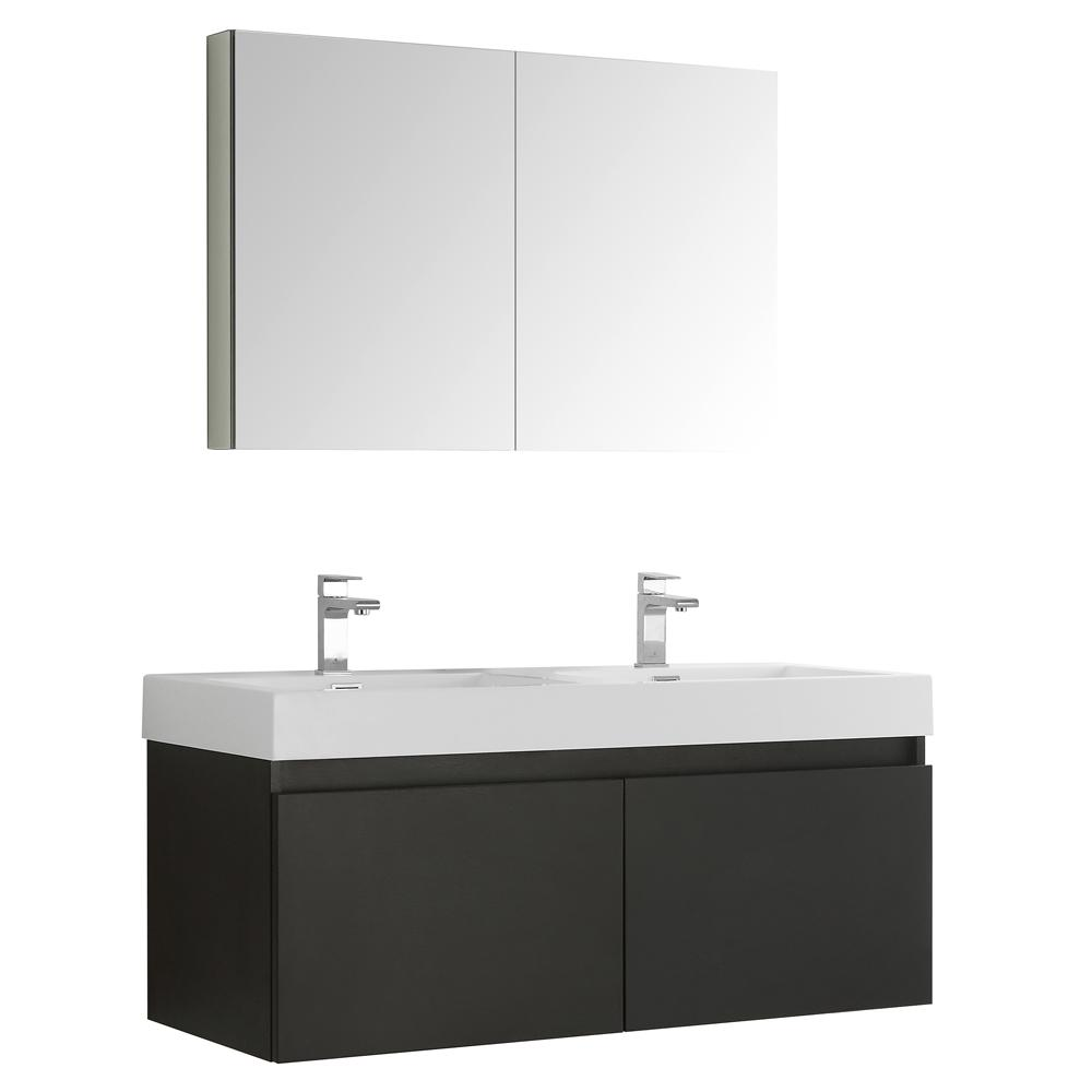 Fresca Mezzo 48 in. Vanity in Black with Acrylic Vanity Top in White ...