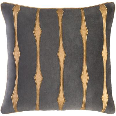 Gloucester Grey Striped Polyester 22 in. x 22 in. Throw Pillow