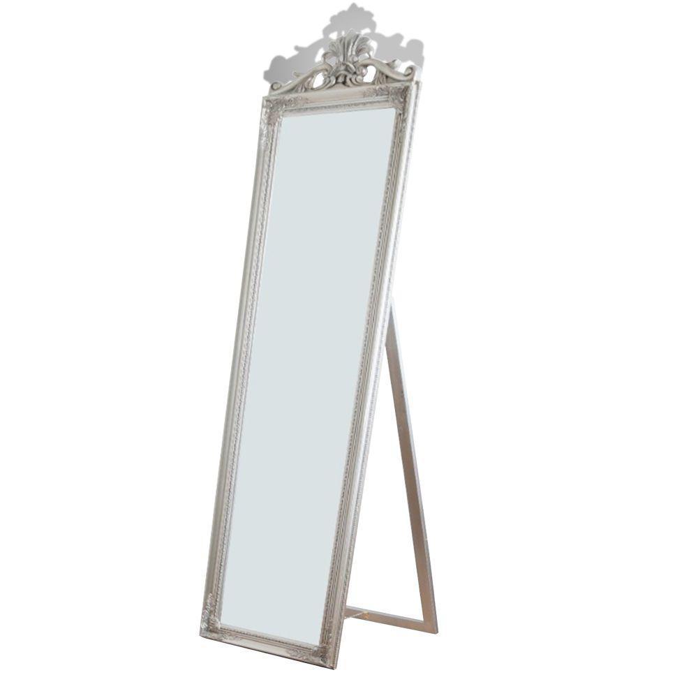 Oversized Silver Wood Modern Mirror (67 in. H X 1.9 in. W)