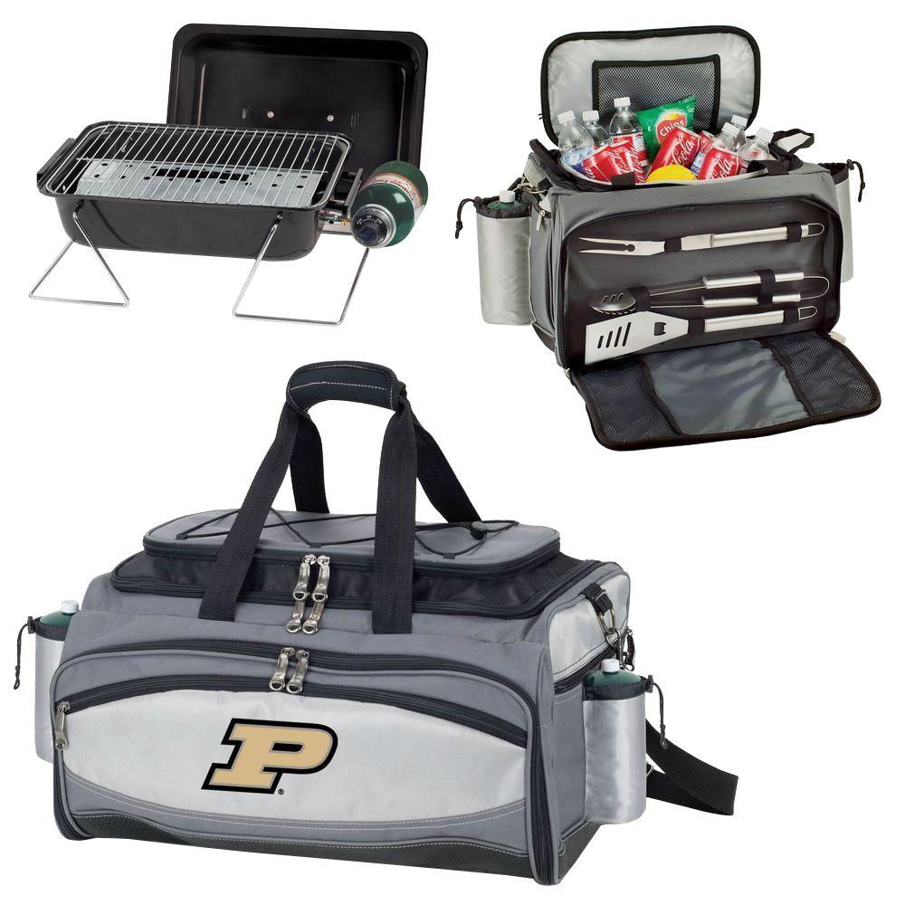 Picnic Time Purdue Boilermakers - Vulcan Portable Propane Grill and Cooler Tote by Digital Logo, Black/Gray