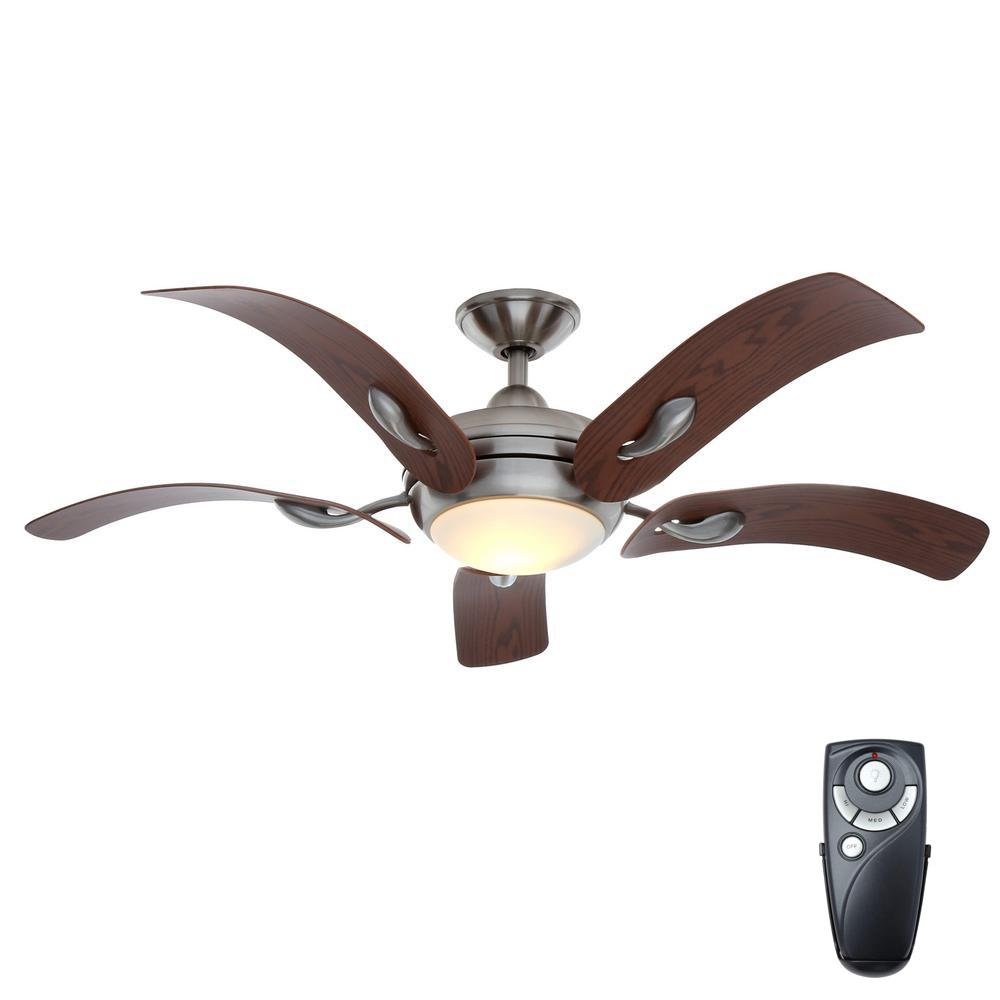home decorators collection cassaro ii 52 in indoor brushed nickel ceiling fan with light kit