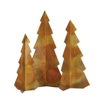 Rustique 19 in., 16 in. and 13 in. Iron In Hammered Burned Copper Decorative Christmas Trees (Set Of 3)