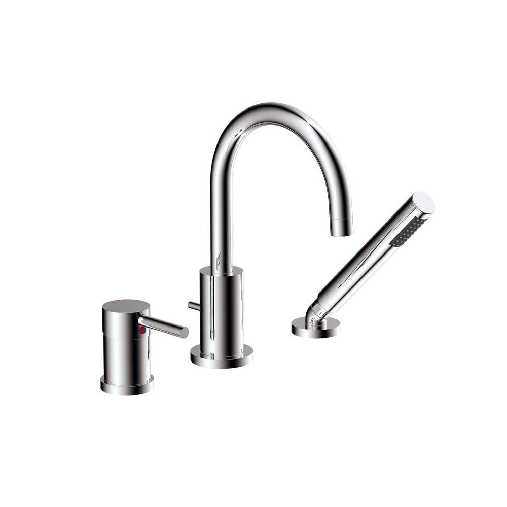 universal tubs magnum series 1 handle deck mount roman tub faucet with handshower in polished. Black Bedroom Furniture Sets. Home Design Ideas