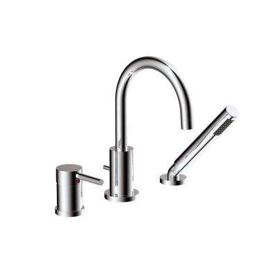 Magnum 1-Handle Deck-Mount Roman Tub Faucet with Hand Shower in Polished Chrome