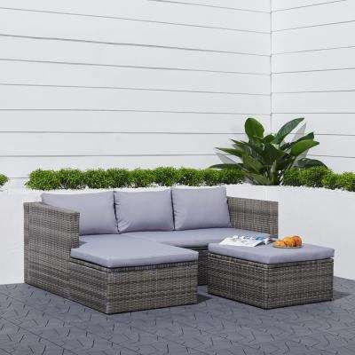 Daytona 3-Piece Wicker Outdoor Sectional Set with Gray Cushions