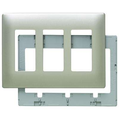 Screwless 3-Rocker Wall Plate - Nickel