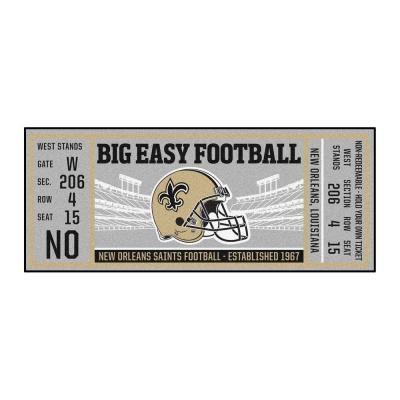 NFL - New Orleans Saints 30 in. x 72 in. Indoor Ticket Runner Rug