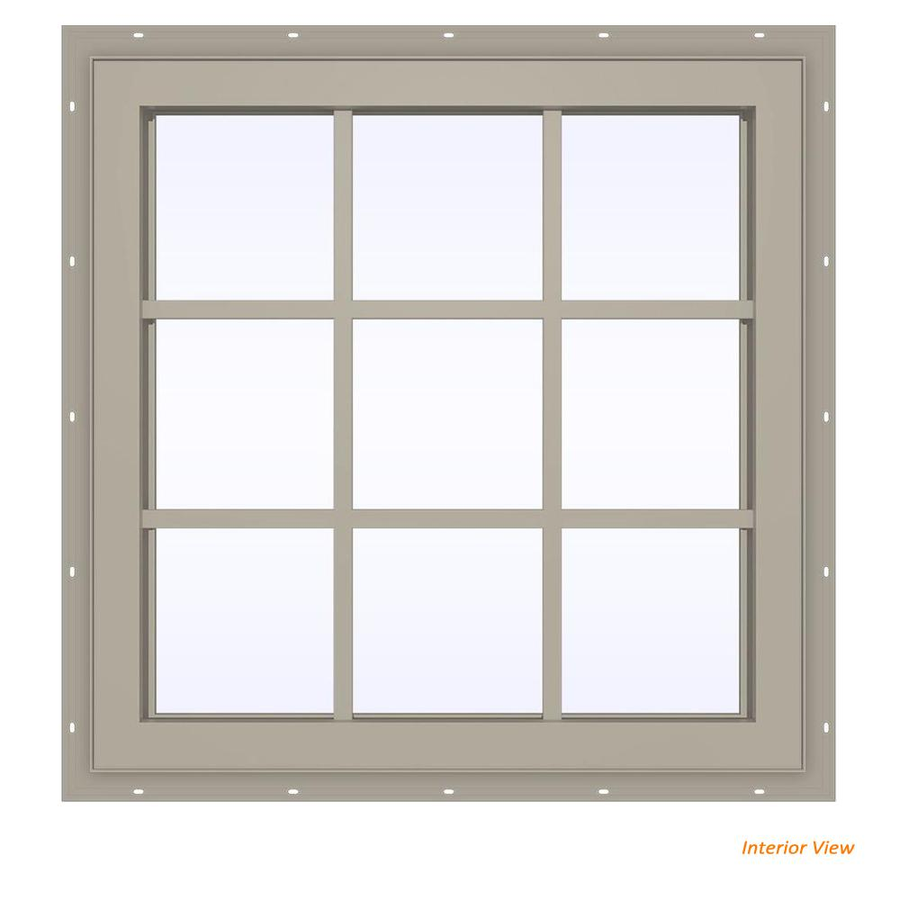 JELD-WEN 35.5 in. x 35.5 in. V-4500 Series Desert Sand Vinyl Fixed Picture Window with Colonial Grids/Grilles