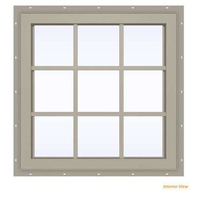 35.5 in. x 35.5 in. V-4500 Series Desert Sand Vinyl Fixed Picture Window with Colonial Grids/Grilles