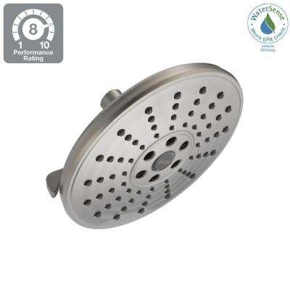 3-Spray 7-11/16 in. Fixed Showerhead in SpotShield Brushed Nickel