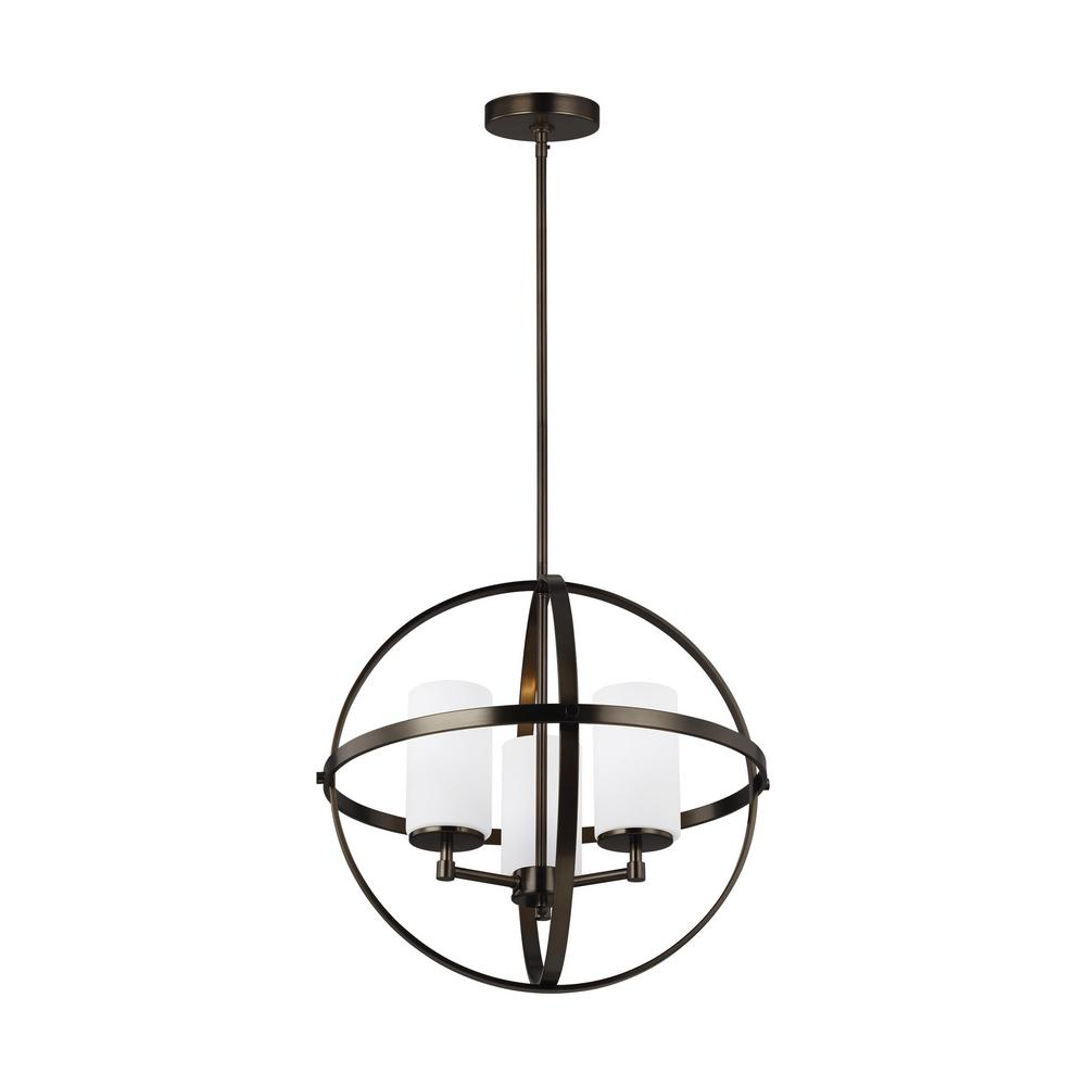 Sea Gull Lighting Alturas 3 Light Brushed Oil Rubbed Bronze Orb Chandelier With Satin Etched