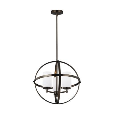 Alturas 3-Light Brushed Oil Rubbed Bronze Orb Chandelier with Satin Etched Glass Shades