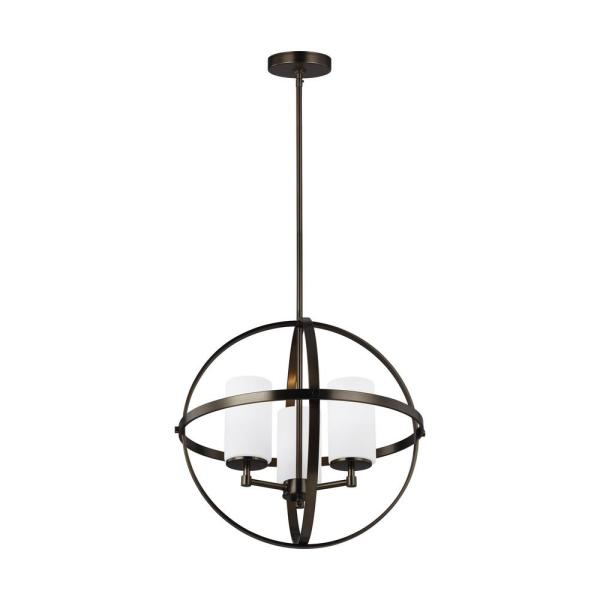Sea Gull Lighting Alturas 3 Light Brushed Oil Rubbed Bronze Orb Chandelier With Satin Etched Glass Shades 3124603 778 The Home Depot