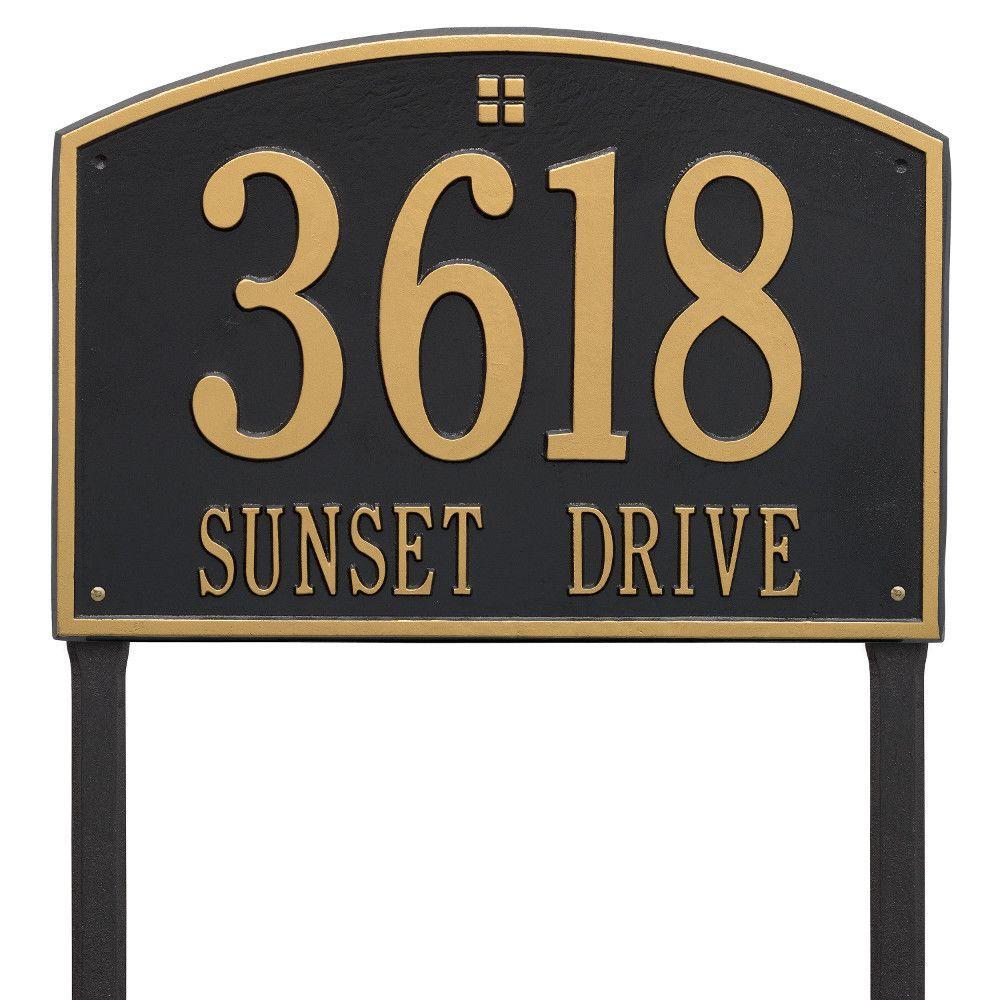 Cape Charles Rectangular Estate Black/Gold Lawn 2-Line Address Plaque