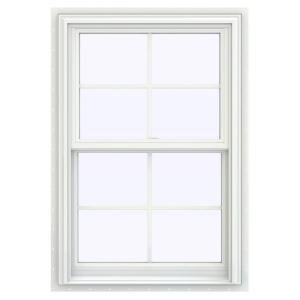 V 2500 Series White Vinyl Double Hung Window With Colonial Grids Grilles Thdjw144400979 The Home Depot