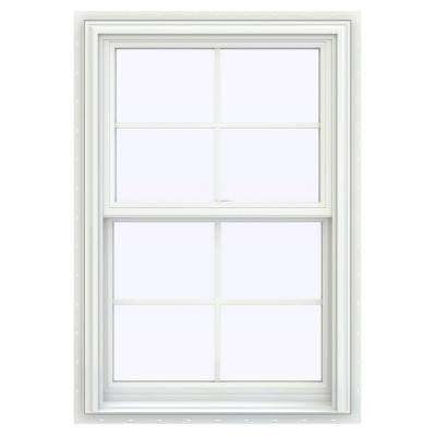 27.5 in. x 47.5 in. V-2500 Series White Vinyl Double Hung Window with Colonial Grids/Grilles