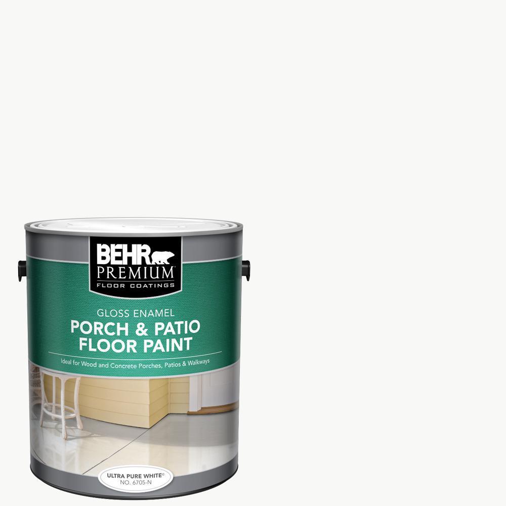 BEHR PREMIUM 1 gal. Ultra Pure White Gloss Enamel Interior/Exterior Porch and Patio Floor Paint
