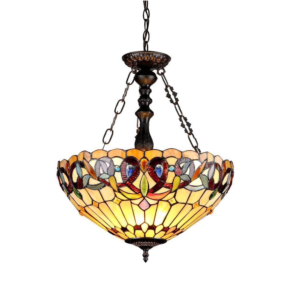 Chloe Lighting Serenity 3-Light Chrome Inverted Tiffany-Style Victorian Ceiling Pendant with 18 in. Shade