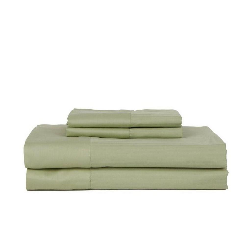 PERTHSHIRE 4-Piece Celedon Cotton Queen Sheet Set T450Q-STR-CELD