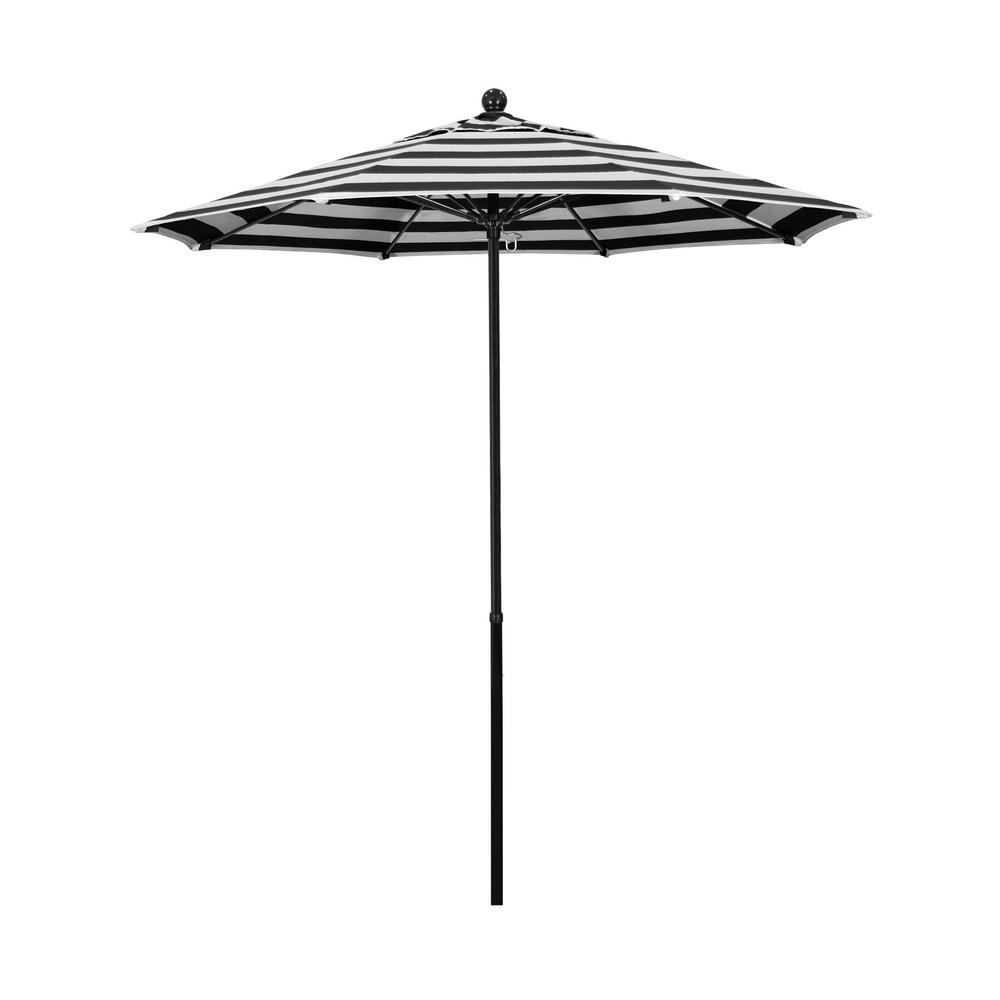 7.5 ft. Fiberglass Market Push Lift Patio Umbrella in Cabana Classic Sunbrella