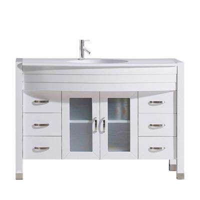 Ava 47 in. W Bath Vanity in White with Stone Vanity Top in White Stone with Round Basin and Faucet