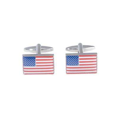 Metal Cufflink in Red/White/Blue