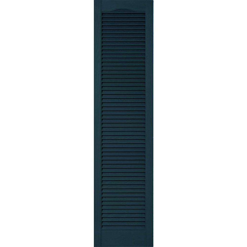 Ekena Millwork 12 in. x 90 in. Lifetime Vinyl Custom Cathedral Top All Louvered Open Louvered Shutters Pair Midnight Blue