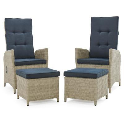 Haven Beige All-Weather Wicker Outdoor Recliner with Ottomans and Dark Gray Cushions (Set of 2)