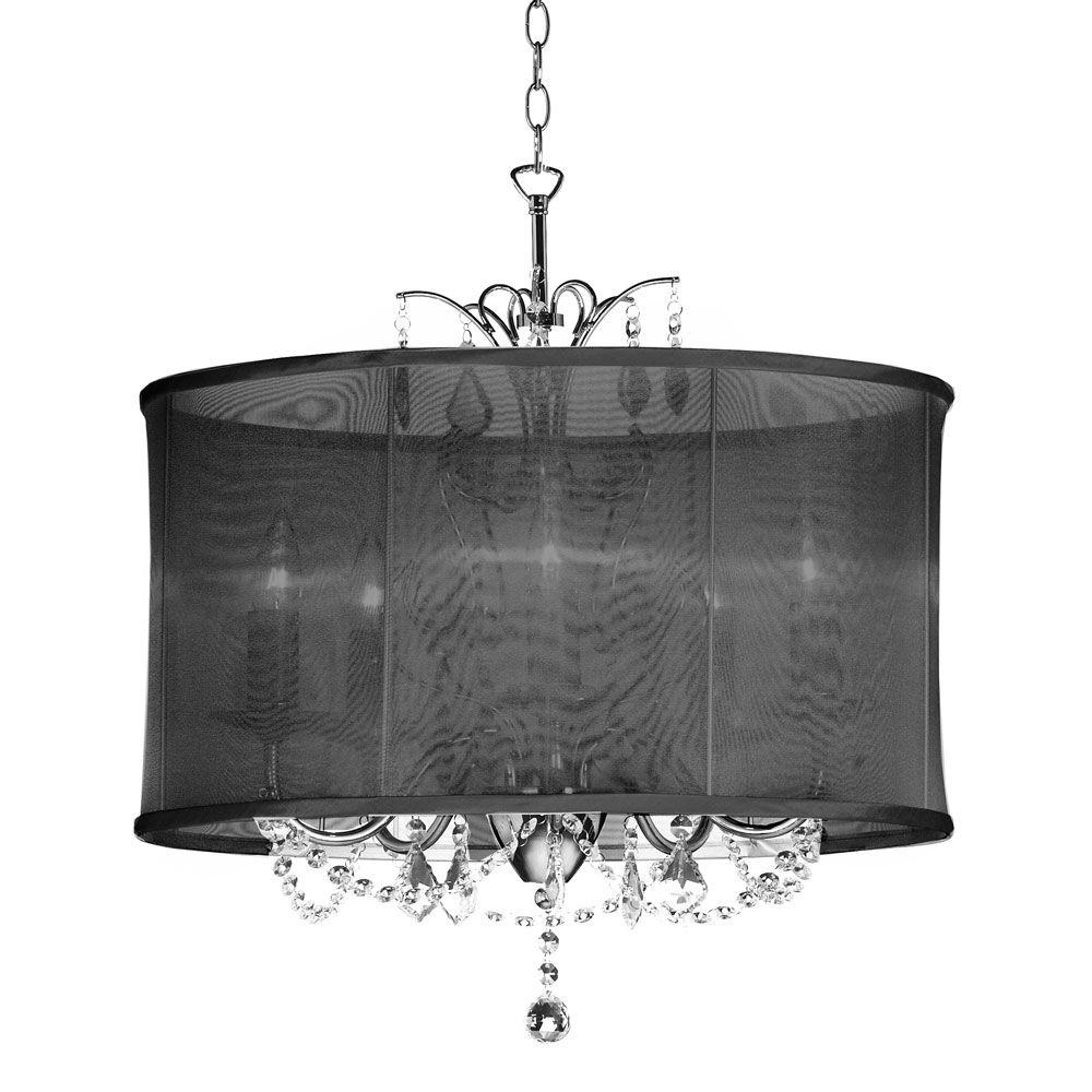 Radionic Hi Tech Vanessa 5 Light Polished Chrome Maple Droplets Crystal Chandelier With Black Organza Shade