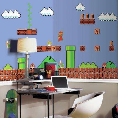 72 in. W x 126 in. H Super Mario Retro XL Chair Rail 7-Panel Prepasted Wall Mural