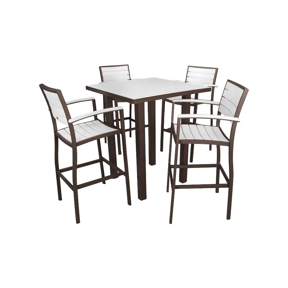 Polywood Euro Textured Bronze White 5 Piece Patio Bar Set